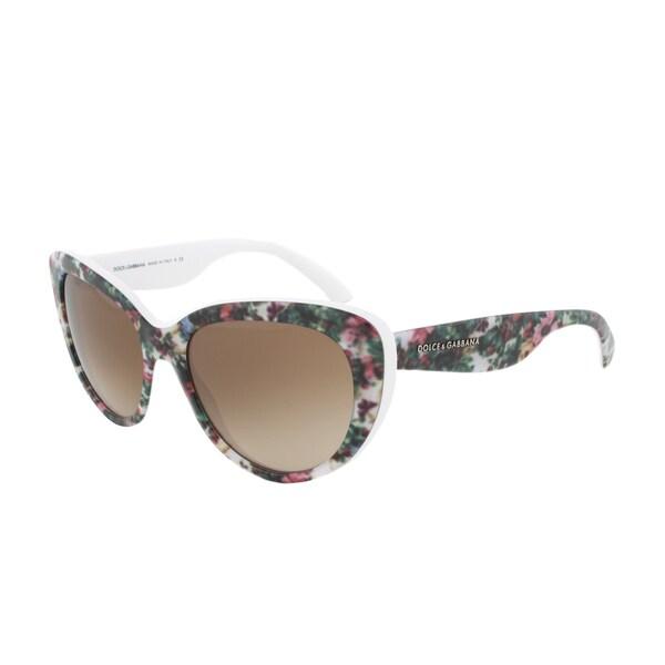 Dolce & Gabbana Sunglasses DG 4189 2780/13, Flower Print Frame, Brown Gradient Lens