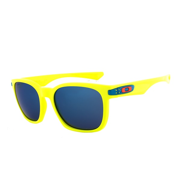 Oakley Garage Rock Wayfarer Sunglasses OO 9175-14, Neon Yellow Frame, Ice Iridium Lens