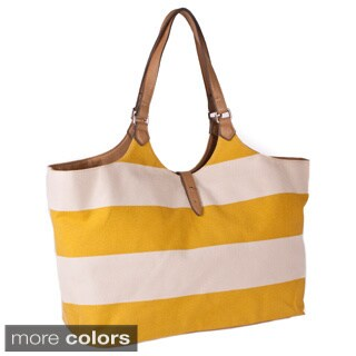 Bueno 'Sonny' Summer Canvas and Vegan Leather Tote Handbag