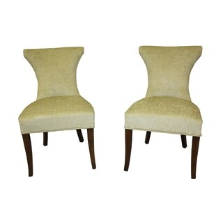Cosmo Two-tone Green Velvet/ Apple Regency Dining Chair (Set of 2)