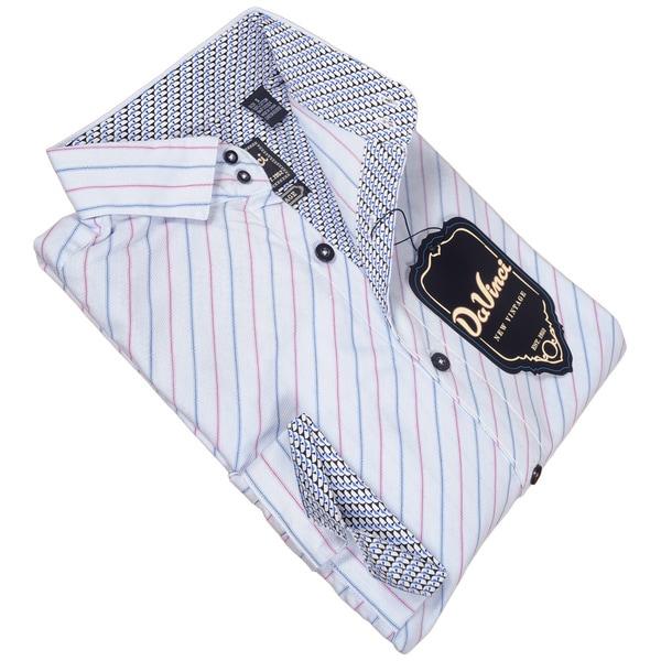 DaVinci Men's Melvin Blue/ White Button Down Shirt