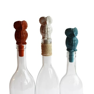 Set of 3 Cermic Owl Wine Topper (Peru)