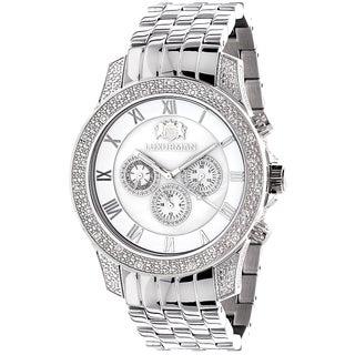 Luxurman Men's Midsize 1/2ct TDW Diamond Stainless Steel Watch