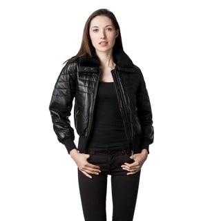 Women's Jane Leather Faux Fur Collar Jacket