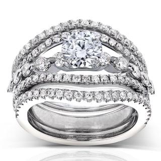 Annello 14k White Gold 1 2/5 ct TDW Round Diamond Split Shank 3-Piece Bridal Rings Set (H-I, I1-I2)
