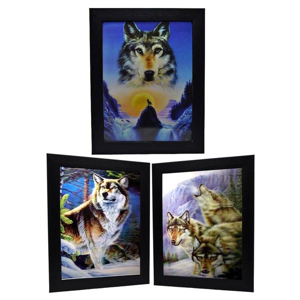 Brown Huskie Wolf Framed 3D Wall Art