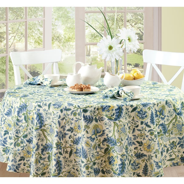 Waverly Imperial Dress Floral Microfiber Tablecloth