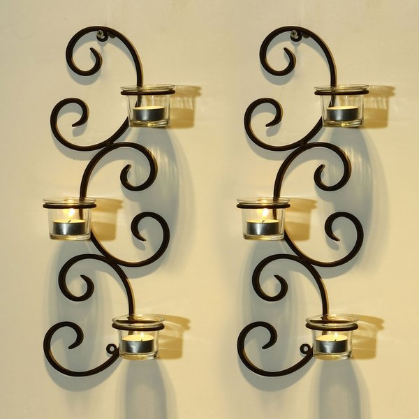 Adeco Brown Iron Vertical Wall Hanging Accents Candle Holder Sconce (Set of 2) 15845581