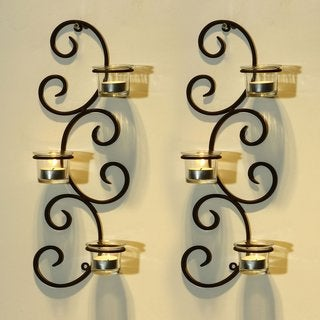 Adeco Brown Iron Vertical Wall Hanging Accents Candle Holder Sconce (Set of 2)