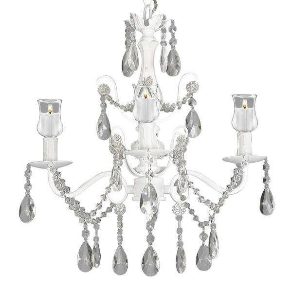 Wrought Iron and Crystal White Chandelier with Candle Votives 15845595