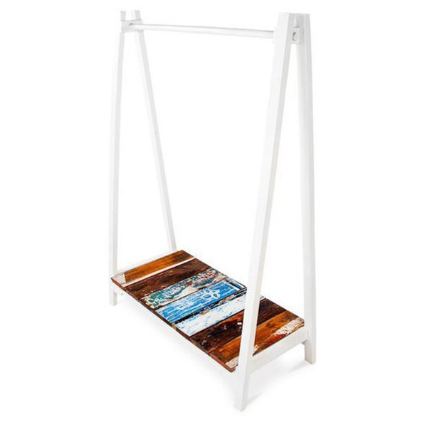 Lifeline White Reclaimed Wood Clothing Rack