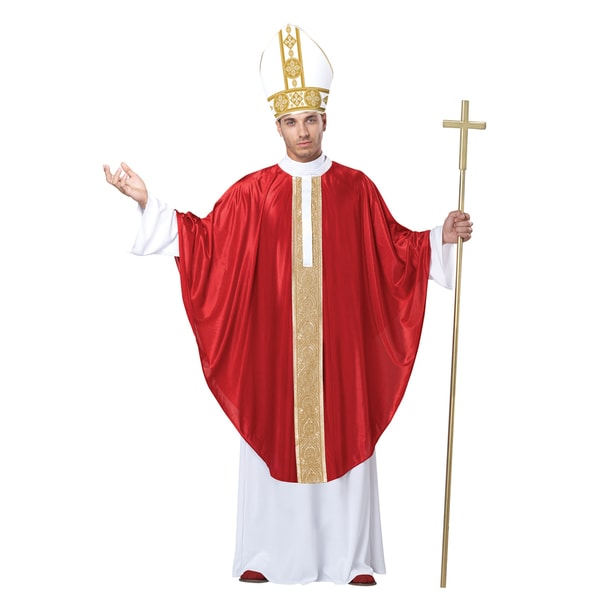 The Pope Adult Costume Robe Papal Hat Catholic Church Holy Religious Father
