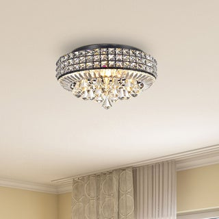 Jolie Antique Black 4-light Crystal Round Flush Mount Chandelier