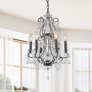Bethany Antique Black Iron and Crystal Candle Light Chandelier