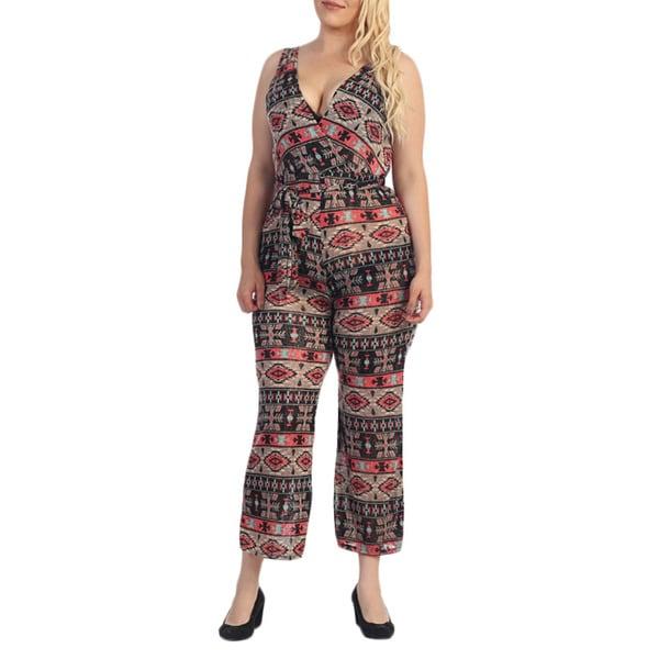 Ella Samani Women's Plus Size Aztec Jumpsuit