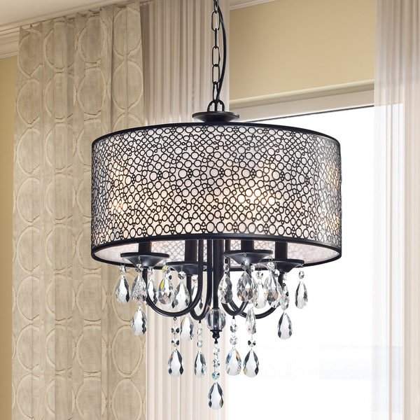 Amalia Antique Black Finish Metal Drum Shade Crystal Chandelier
