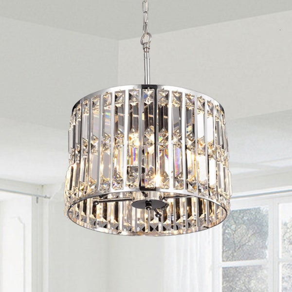Justina Crystal Glass Prism Pendant Chandelier in Chrome