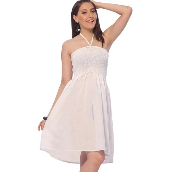 Women's Solid White Halter Smocked Short Tube Dress