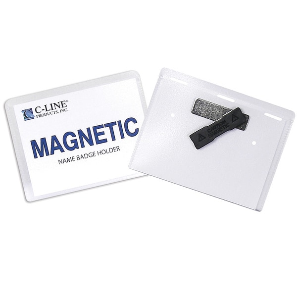 C-Line Products Magnetic Style Name Badge Kit, Clear, 4x3, 20 per box
