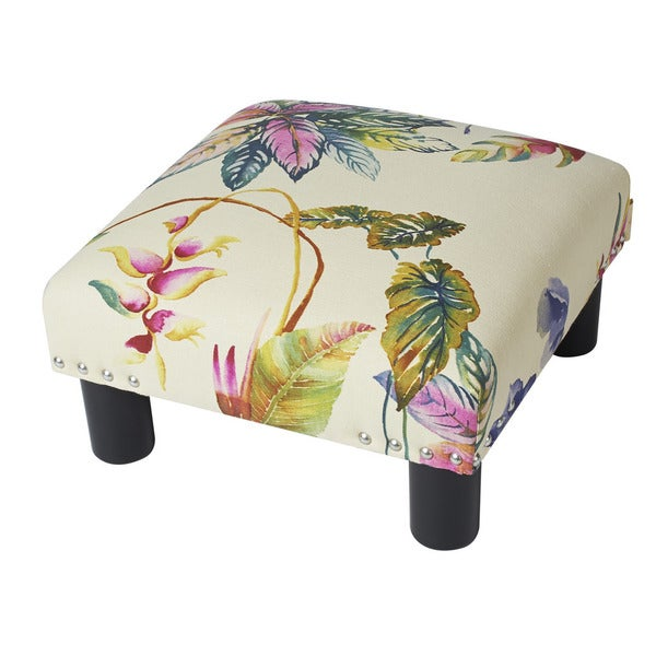 Jennifer Taylor White Cotton/ Linen Upholstered Ottoman