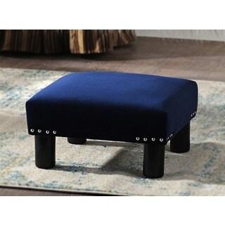 Jennifer Taylor Blue Wood Upholstered Ottoman