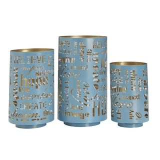 Elements Teal Sentiment Metal Luminaries (Set of 3)