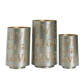 Elements Slvr Live Laugh Love Metal Luminary (Set of 3)