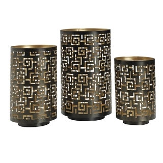 Elements Greek Key Metal Luminaries (Set of 3)