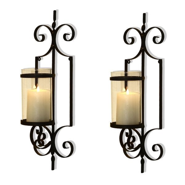 Adeco Cast Iron Vertical Wall Hanging Accents Candle Holder Sconce (Set of 2) 15845833