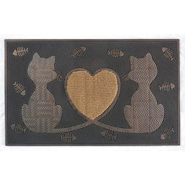 Rubber Twin Heart Cat Doormat