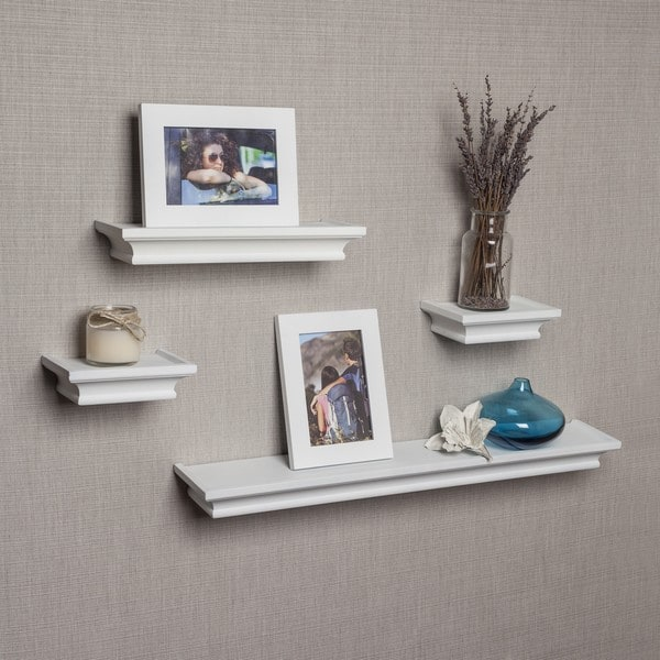 Danya B White Cornice Ledge Shelves with Photo Frames (Set of 4) (As Is Item)