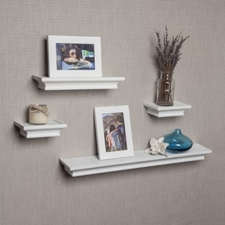 Danya B White Cornice Ledge Shelves with Photo Frames (Set of 4)