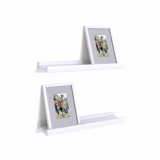Danya B White Ledge Shelves with Photo Frames (Set of 2)