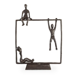 Danya B Playful Kids on Frame Bronze Sculpture