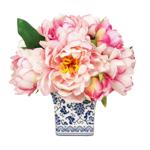 Lush Pink Silk Peony Bouquet in Blue and White Delft Pot