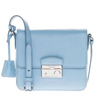 Prada Saffiano Leather Blue Lux Small Crossbody Bag