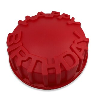 Sorbus Red Silicone Happy Birthday Cake Baking Mold