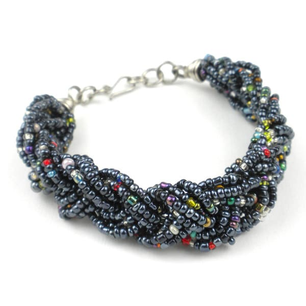 Black Six Strand Braid Beaded Bracelet (Kenya)