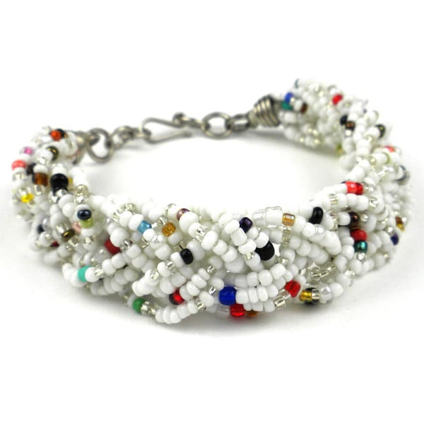 White Six Strand Braid Beaded Bracelet (Kenya)