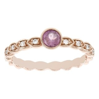 H Star 14k Rose Gold Created Pink Sapphire and Diamond Accent Stackable Ring