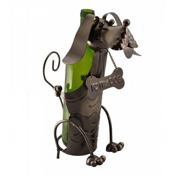 Metal Dog Wine Bottle Holder
