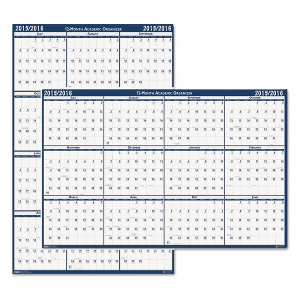 Poster Style Reversible/Erasable Academic 2015-2016 Yearly Calendar
