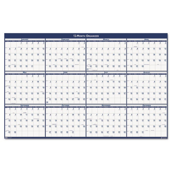 Laminated Write-On/Wipe-Off Jumbo 2016 Yearly Wall Calendar