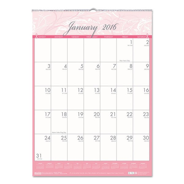 Breast Cancer Awareness 2016 Monthly Wall Calendar