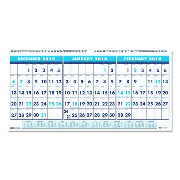 Three-Month Horizontal Format Wall Calendar (2015-2017)