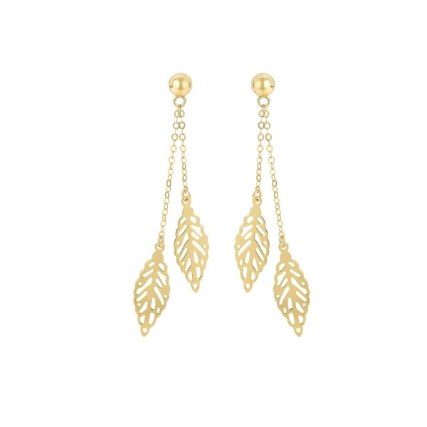 14k Yellow Gold Earrings with Dangling Leaves