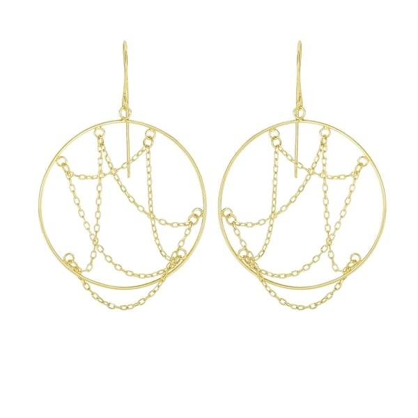 14k Yellow Gold Layered Open Circle Earrings