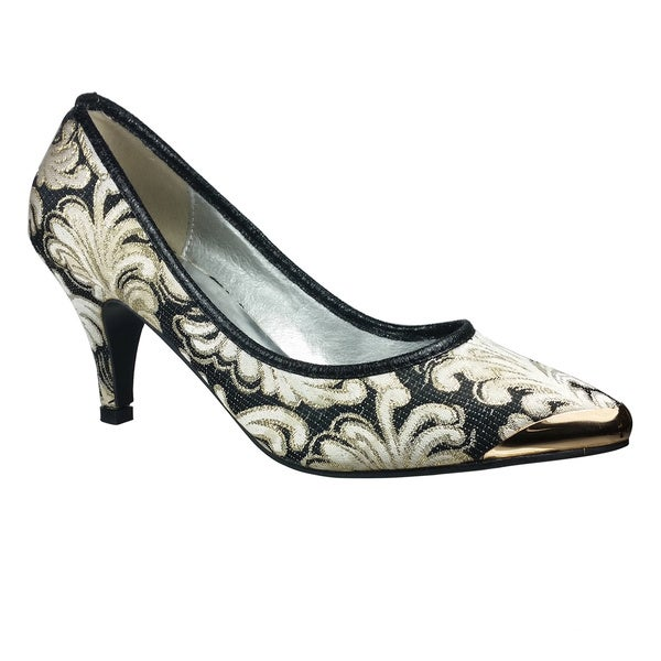 Wildrose Women Low Heel Point Toe Pumps with Gold Trim