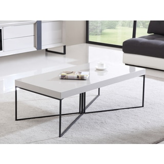 B-Modern Mixer High-Gloss Cream and Black Steel Coffee Table