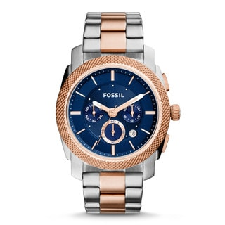 Fossil Men's Machine Chronograph Blue Dial Two-Tone Stainless Steel Watch FS5037